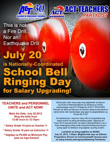 School Bell Ringing Day for Salary Upgrading