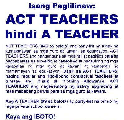 ACT TEACHERS PARTYLIST...